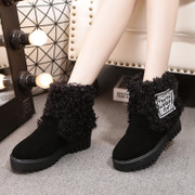Like sheep's curly-haired women snow boots leisure in thick-soled platform boots in Europe increased American ladies leather winter boots