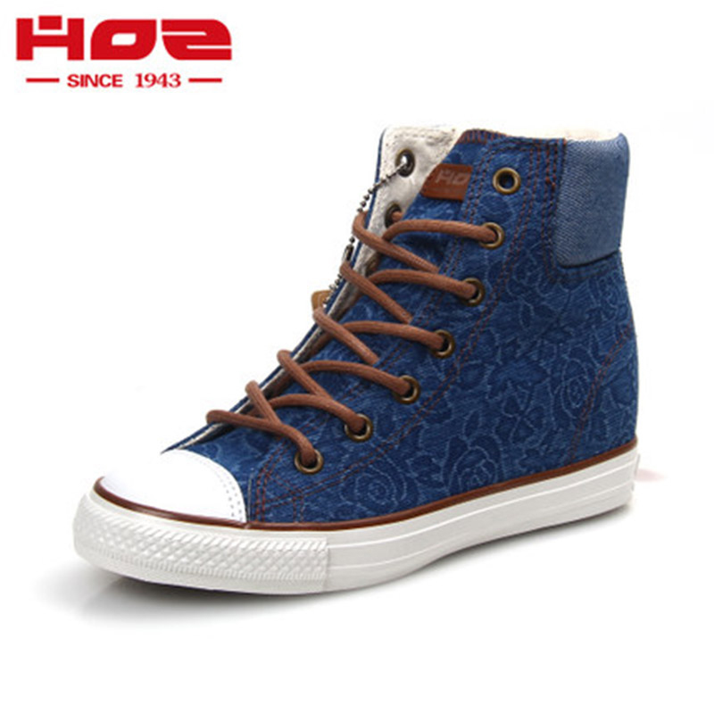 Hoz [Backstreet] fashionable and all-around denim pattern casual shoes high top inside high top womens shoes vulcanized shoes H65