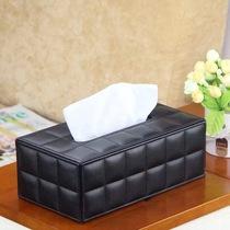 屋美家戀皮革紙巾盒商務高檔酒店皮具用品禮品牛皮紋方格子抽紙盒