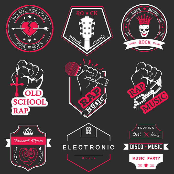Trend music element tag AI vector material pop music element icon material design material