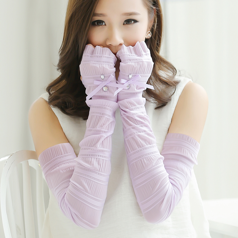 Sunscreen sleeve summer ice silk anti ultraviolet and cool sleeve sunscreen gloves womens thin long driving arm cover