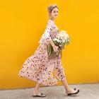 婕西孕妇春夏装雪纺印花两件套中长款连衣裙宽松孕妇沙滩裙D4730