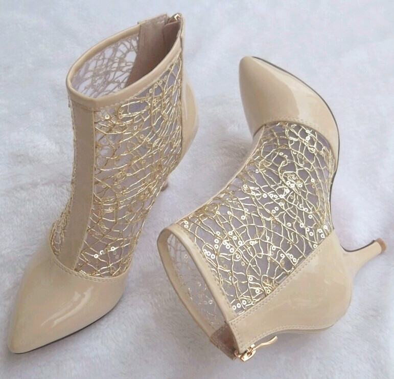 2020 new net boots spring and summer bare boots high heel shoes leather lace mesh hollow short boots single boot children