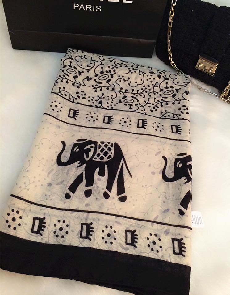 许晴款围巾黑白大象图案外贸出口欧美时尚简约棉麻大披肩丝巾