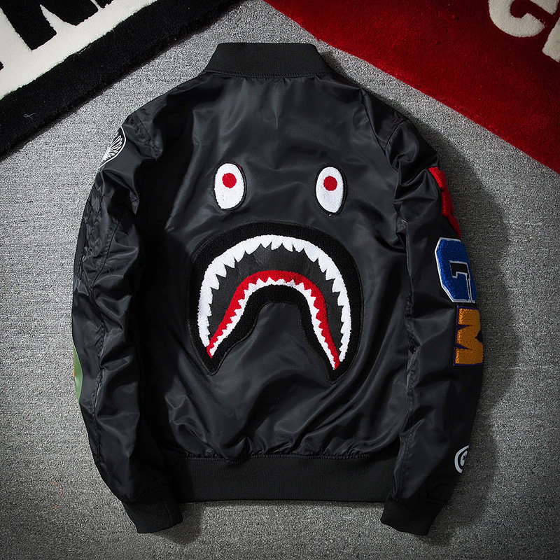 New embroidered shark head pilot jacket in spring and autumn of 2019