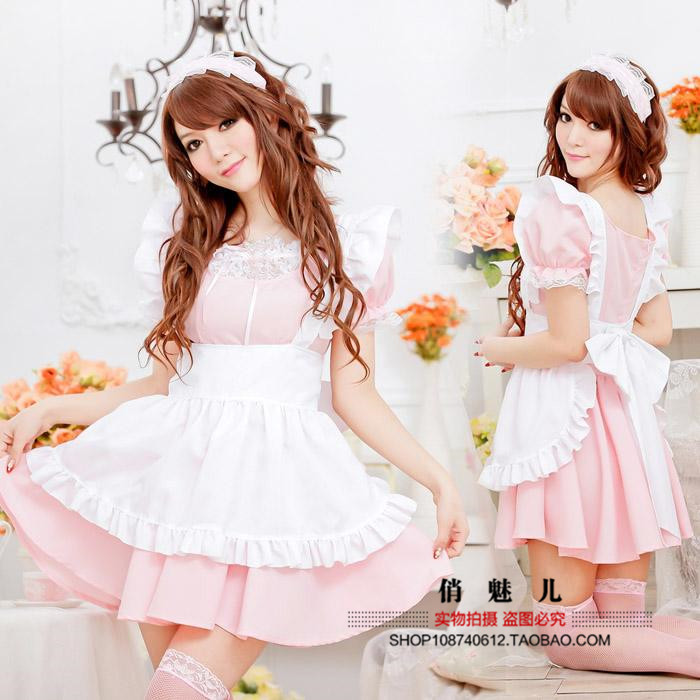 Pink Maid many womens uniform tempting maid maid set art photo costume stage dress show dress
