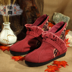 Chinese dance authentic retro breathable and comfortable non-slip boots high boots in thousand-layer of embroidered cloth boots with round head female Bai Mei