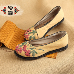Chinese dance classics Chinoiserie embroidered shoes old Beijing handmade canvas shoes asakuchi flat women's shoes Xia Shifei
