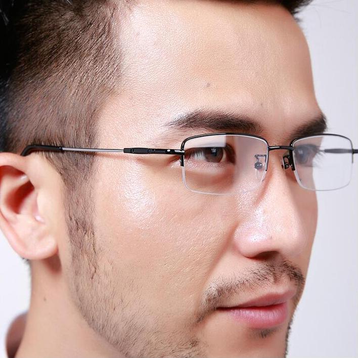 記憶鈦鏡腿金屬半框配帶度數近視眼鏡架商務純鈦合金女框眼鏡男