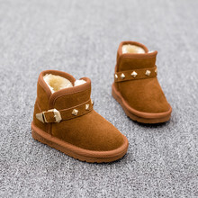 Non-slip warm winter children female waterproof leather boy's low tube cotton shoes add wool cotton boots baby shoes