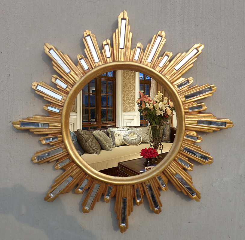 Golden European Chinese creative wall hanging perforated glass patch porch solar TV wall decorative mirror cosmetic mirror