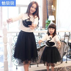 怡贝贝亲子装春装款 蕾丝天鹅黑色纱裙套裙秋季女童母女装