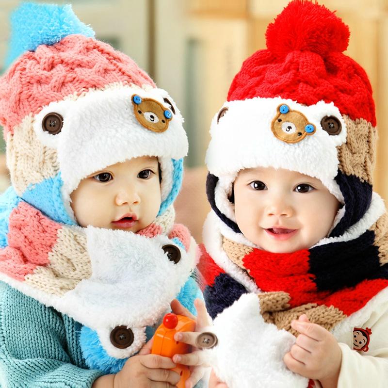 Новые корейской версии мальчиков детские шапки для осень/зима ребенка несут Hat шарф набор из двух и вниз густой теплой