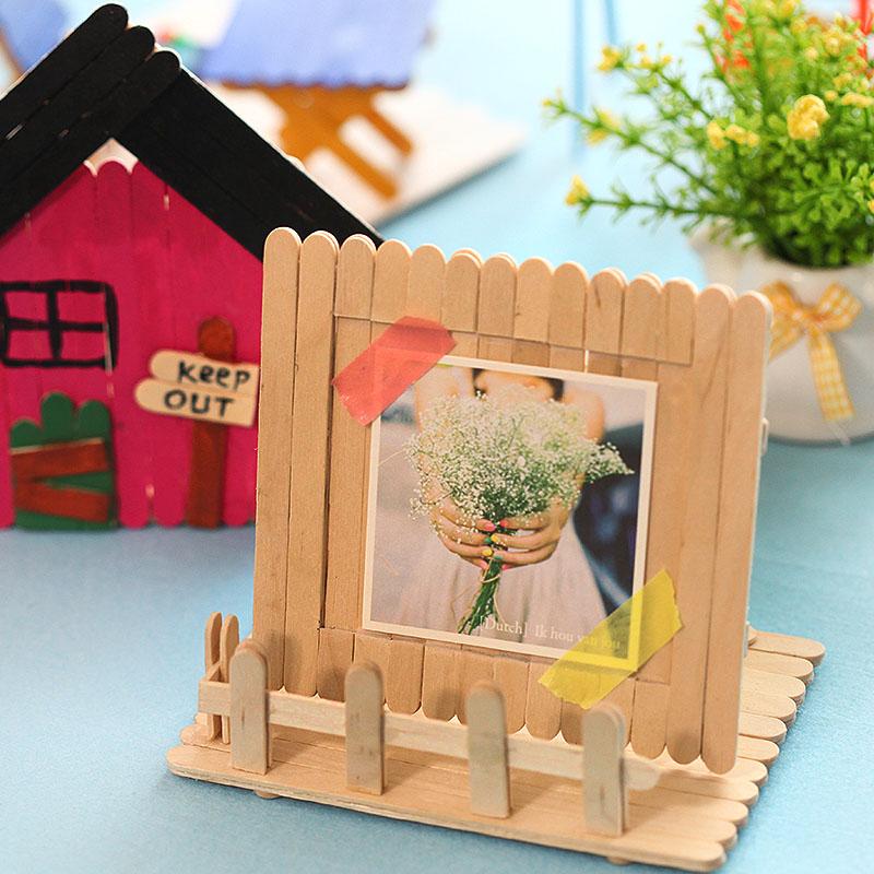 雪糕棒diy创意相框雪糕棍手工材料木质相框相册包邮