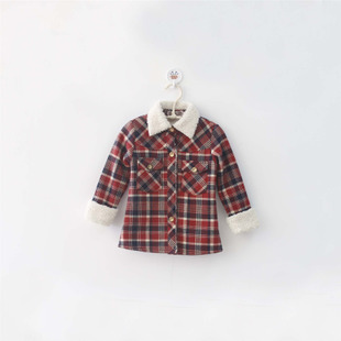 Children plus velvet plaid shirt 2015 spring and autumn fashion thickening children s clothing for men and women wild casual shirt