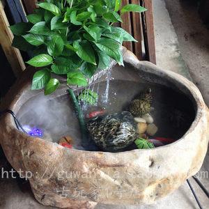 自然石鱼缸鹅卵石鱼缸 石头流水水景 庭院流水装饰摆件 鱼缸 花盆