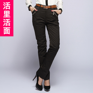 The new feather pants female outer wear trousers trousers Slim Straight down detachable live in live warm face was thin