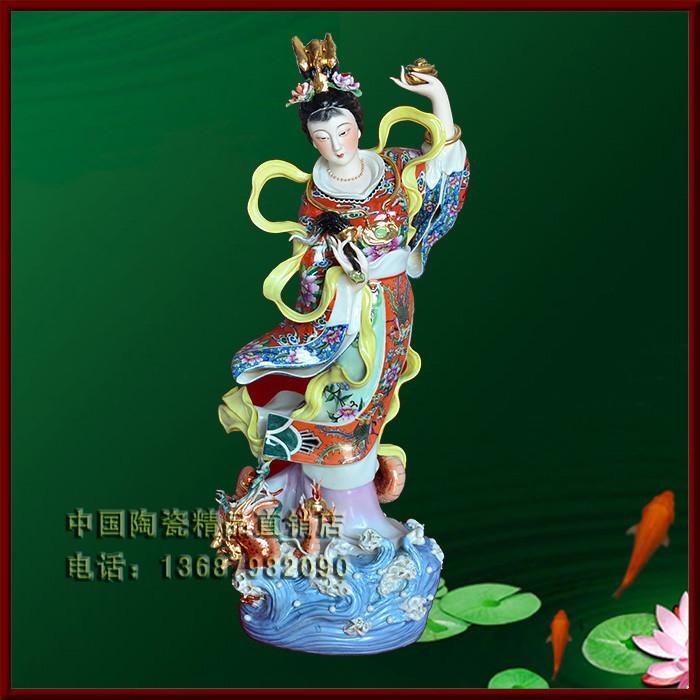 景德镇陶瓷工艺品摆件 瓷器雕塑艺术品摆设品 飞天仕女 镇店之宝