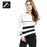 ZK чёрно-белая полоска поддержка вязание круглый вырез свитер хеджирование женщина обтягивающий стройнящий дикий свитер новинка зимний осеннний B
