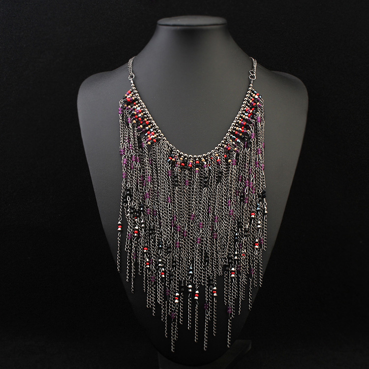 Leisure home accessories 1512 tassel long decorative chain hanging chain purple European and American atmosphere Bead Tassel Necklace