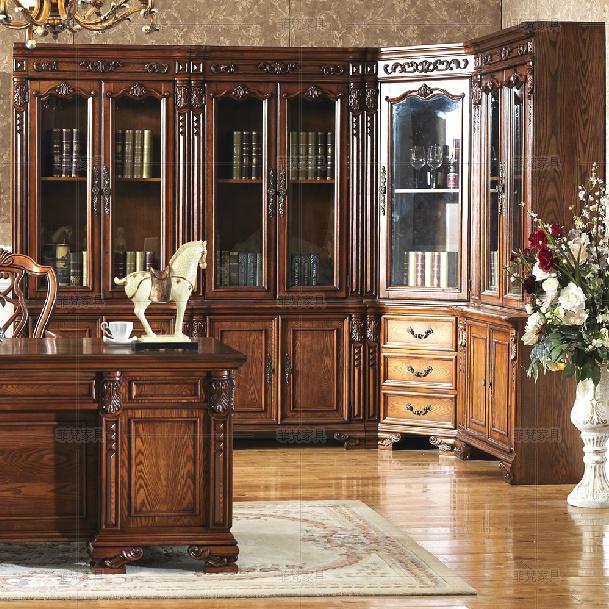 美式两门书柜书橱 组合转角书柜 高档实木组合书柜 美式雕花书柜