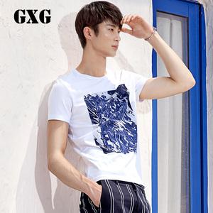 GXG男装 夏季新品 男士修身纯棉白色圆领短袖T恤男#62844024