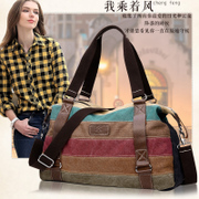 Lake of fire canvas women's shoulder bag stitching Han hit the color Crossbody trend simplicity da Chao han