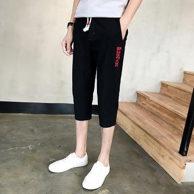 2017夏季潮流男装休闲七分裤 男士棉麻刺绣运动短裤K97P35
