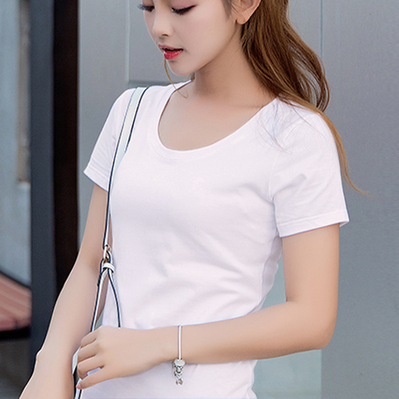 Late color pure white short sleeve T-shirt womens round neck Korean slim fit versatile summer casual thin half sleeve cotton T-shirt