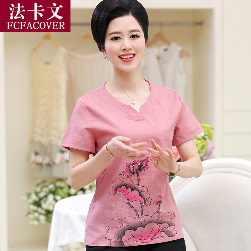 中老年女裝夏裝短袖T恤襯衫40~50中年媽媽裝大碼印花上衣棉麻襯衣