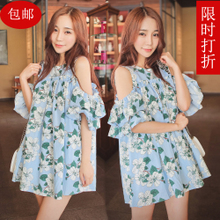 New fashion women's clothing han edition cultivate one's morality short skirt double falbala off-the-shoulder printed cotton and linen skirt loose dress