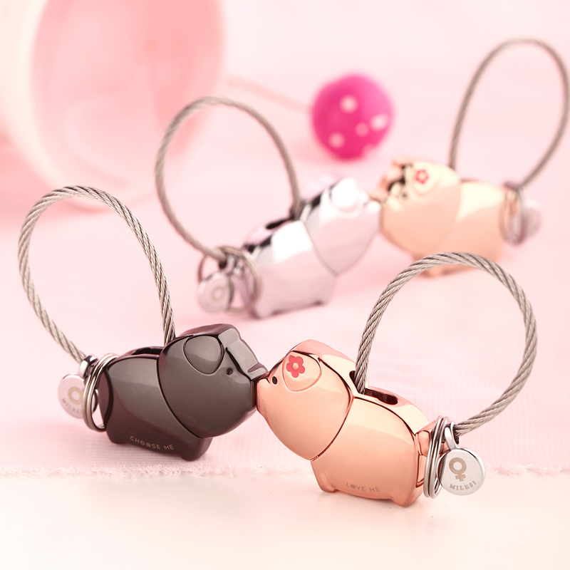 Подключать поцелуй свинья любители брелок пара творческий ключ цепи мужской и женщины милый брелок автомобиль ключ кулон