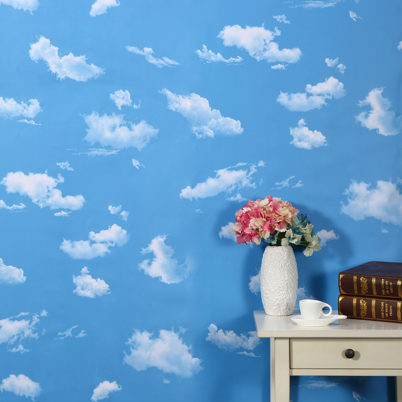 藍天白雲加厚PVC壁紙自粘牆紙防水臥室客廳學生宿舍貼紙