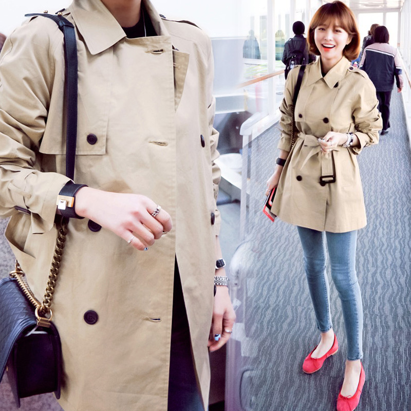 2017 новый осень корейский женщины длина студент хаки небольшой рост ветровка весенний и осенний сезон. тонкий пальто женщина
