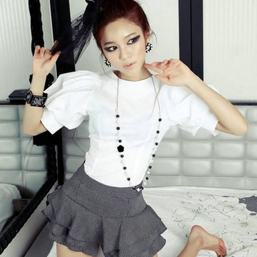 Special Korean summer new Lantern Sleeve Shirt bubble sleeve shirt court half sleeve white shirt
