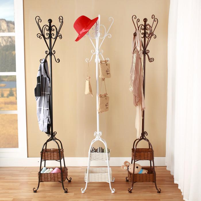 歐式衣帽架鐵藝落地衣架臥室簡易掛衣架 實木簡約客廳衣服架子