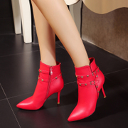 Pointed stilettos for fall/winter spring rivet short tube nailed Martin short boots women boots shoes red white 33 40 plus size cotton
