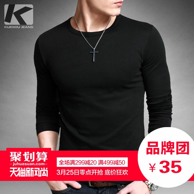 [Электронная почта] Kuegou мужской шею длинный рукав футболка Мужская Весна Черный тонкий базовый рубашка Мужская одежда