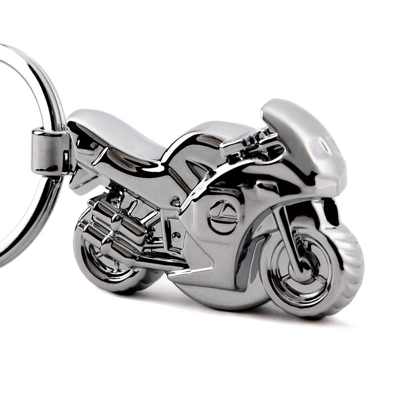 带LED灯摩托车钥匙扣 创意汽车钥匙链挂件金属钥匙圈