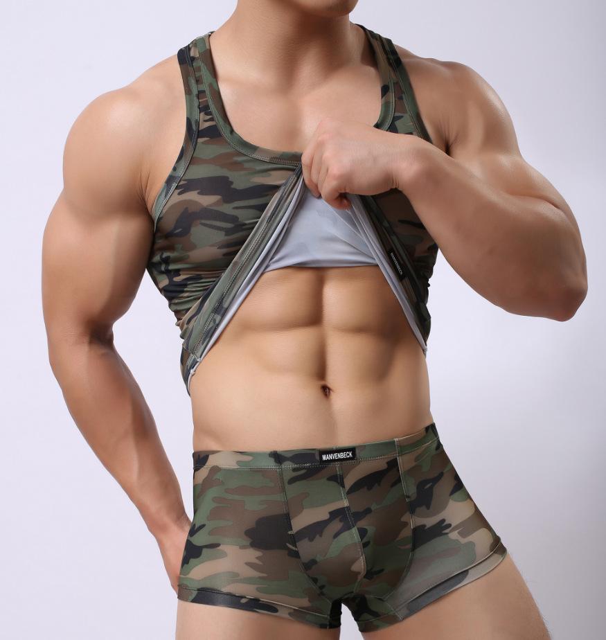 男士迷彩背心 夏季紧身无袖跑步健身背心 跨栏汗衫军训体能训练服