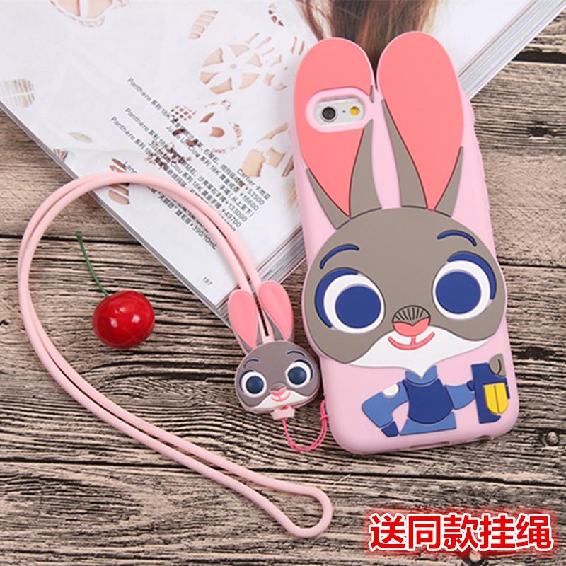 瘋狂動物城iphone7手機殼矽膠蘋果6s plus掛繩卡通兔子情侶保護套