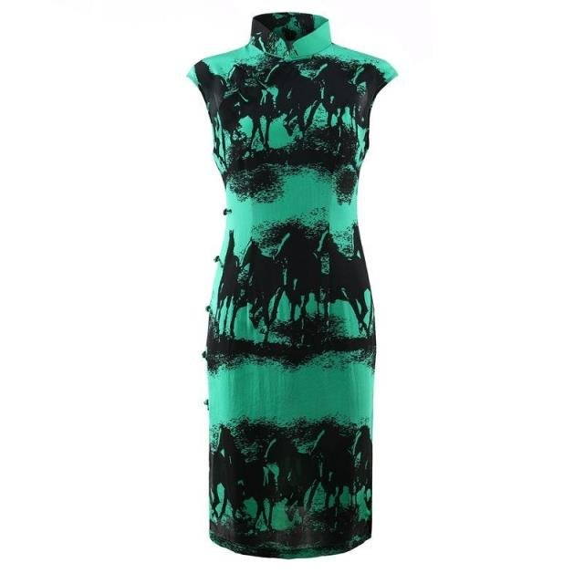 Silk Qipao Chinese style mulberry silk high end short style slim national style