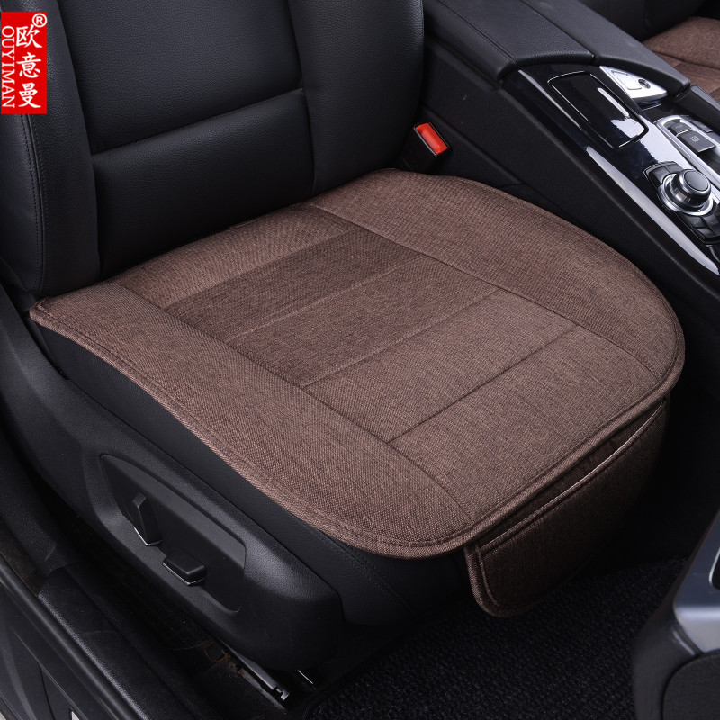 新款汽车坐垫透气免绑防滑三件套车垫单片布艺无靠背四季通用座垫