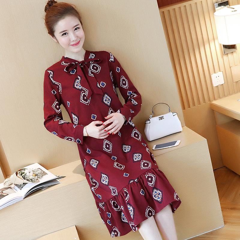 (实拍 现货)2017春装新款孕妇女装复古印花雪纺蝴蝶结连衣裙605