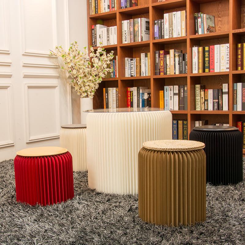 Восемнадцать бумага кофейный столик сочетание пять частей маленькие круглые стол сторона короткая табуретка гостиная балкон спальня случайный столы и стулья 50cm высокий