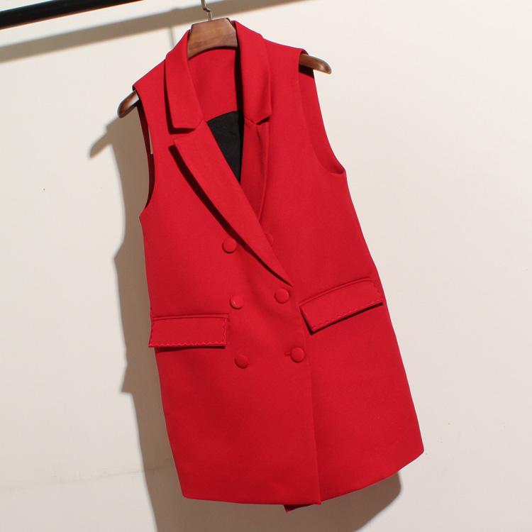 Осень Новый корейский мода темперамент без рукавов лацкане двойной грудью костюм и жилет женский длинный тонкий пиджак