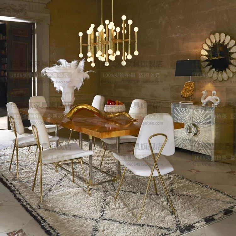 时尚白色pu皮餐桌椅香槟金咖啡桌凳子休闲椅现代书房椅不锈钢椅子