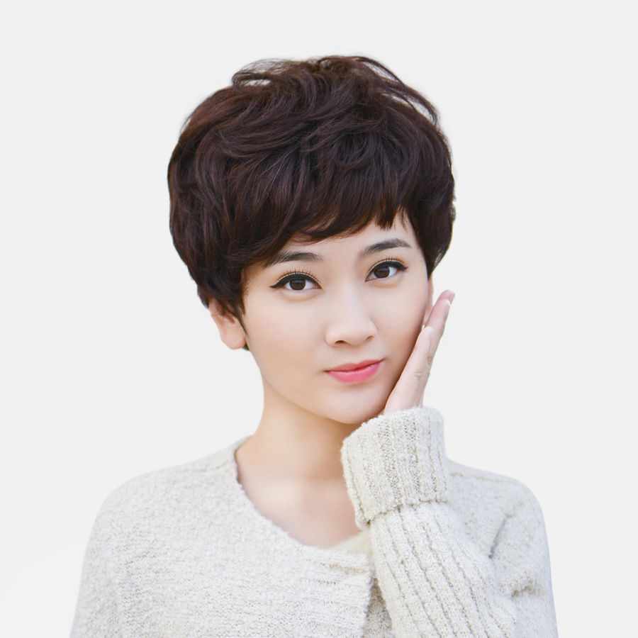 Middle aged and elderly wig short hair lady mother short curly hair temperament fluffy micro roll realistic hair set chemotherapy real hair wig