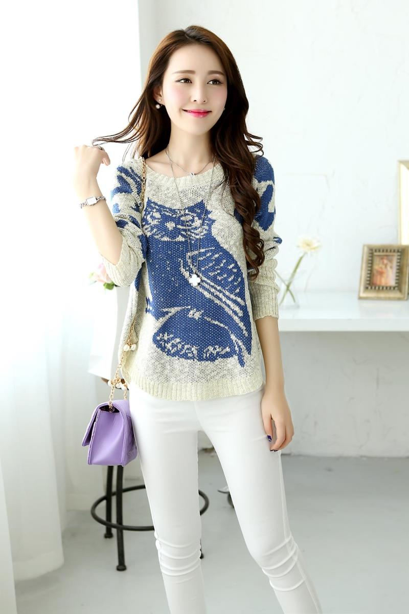 New small animal jacquard pattern Pullover Sweater