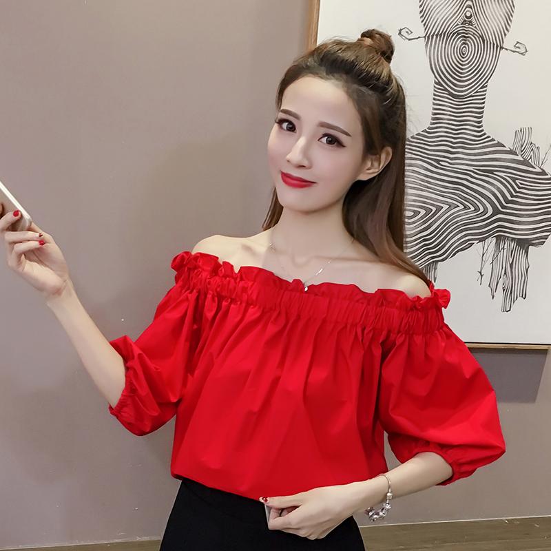 套头一字领衬衫五分袖少女宽松显瘦韩范露肩仙女百搭气质红色上衣